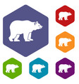 bear icons set vector image