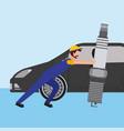beard mechanic pushing spark plug car part vector image