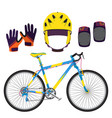 bicycle bike equipment and protect gear in flat vector image vector image