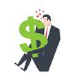 businessman kisses dollar love money profit vector image vector image