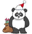 cartoon panda animal character with gift vector image