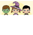 children dressed as halloween with poster vector image vector image