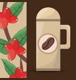 coffee thermos tree bean vector image vector image
