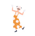 cute happy girl in overalls entertaining public vector image
