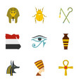 egypt history icons set cartoon style vector image vector image