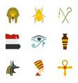 egypt history icons set cartoon style vector image