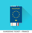 Eurozone Europe Passport with tickets Air Tickets vector image