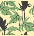 exotic tropical leaves yellow background vector image vector image