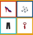 flat icon garment set of heeled shoe foot textile vector image vector image