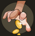 from the cartoon palm gold coins fly out vector image