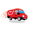 funny courier delivering a truck love vector image vector image