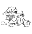 Funny pizza chef on scooter Pizza delivery emblem vector image