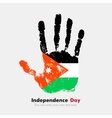 Handprint with the Flag of Jordan in grunge style vector image vector image