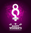 happy womens day typographic design with purple vector image