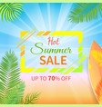 hot summer sale up to 70 percent off promo poster vector image vector image