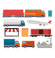 import free shipping set icons vector image vector image
