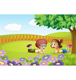 Kids in nature vector image