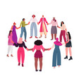mix race girls holding hands standing together vector image vector image