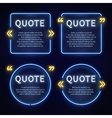 Neon light box 80s frames with quote marks vector image