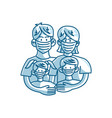 parents and children wearing protective medical vector image vector image