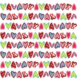 Pattern with colorful hearts on white vector image vector image