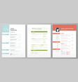 personal resume template artistic profile vector image vector image