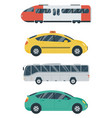 public transportation icons train bus taxi car vector image