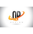 qp q p letter logo with fire flames design and vector image vector image