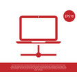 red computer network icon isolated on white vector image vector image