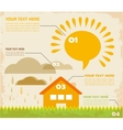 retro infographic village with house and clouds vector image vector image