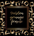 round grunge golden frame on checkered background vector image