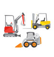 schematic of two mini tractors or vector image vector image