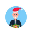 senior man red hat face avatar new year merry vector image vector image