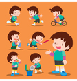 set cute boy many actions vector image vector image