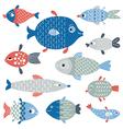 set fish art flat style vector image vector image