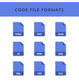 set of code file formats and labels in flat icons vector image