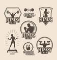 set vintage fitness emblem logo icons vector image vector image