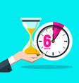 six 6 minutes time symbol clock icon with vector image vector image