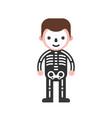 skeleton man children in halloween costume flat vector image