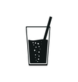 Soda or drink with straw simple black style vector image vector image