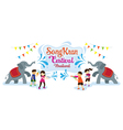 Songkran Festival Kids Play Water with Elephant vector image vector image