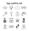 Spy icons set in outline style vector image vector image