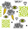 strange wallpaper with geometric shapes and human vector image vector image
