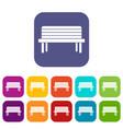 street bench icons set