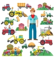 Tractor Driver Icons Set Flat vector image vector image
