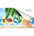 travel background with hand vector image