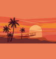 tropical beautiful sunset landscape palms sea vector image vector image