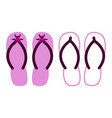 two pairs of colorful flip flops vector image