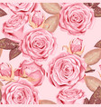 vintage seamless pattern with pink roses vector image vector image