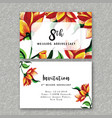 watercolor floral wedding anniversary invitation vector image vector image